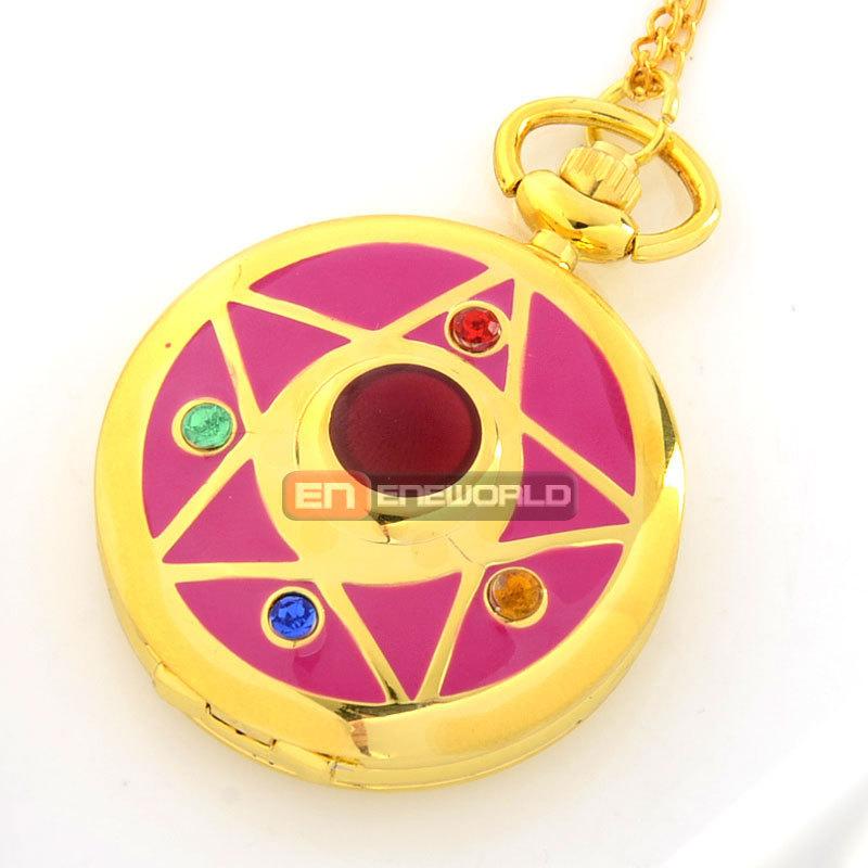 Cassio Gold Star Sailor Moon Pendant Necklace Quartz Pocket Watch Relogio Femininos Dourado P549