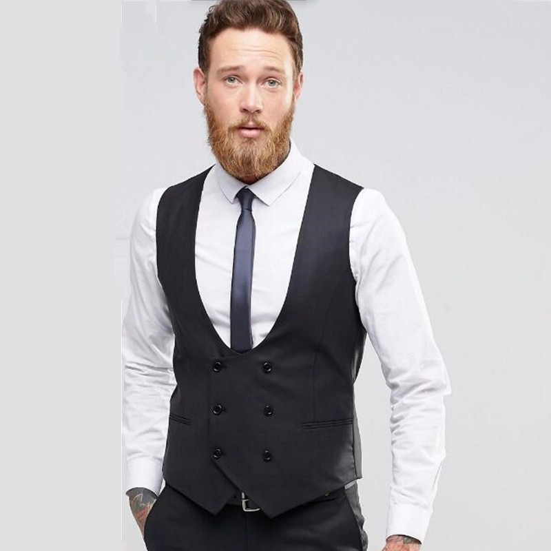 7.1Black double breasted men waistcoat Fashion groom tuxedos vest Handmade high quality wedding best man dress Waistcoat