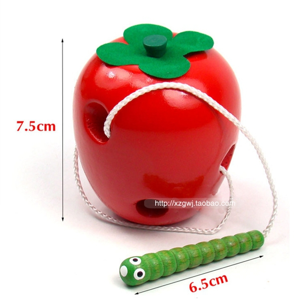 Wooden beaded string line wearing rope toy large apple fruit eating insects Montessori teaching aids wooden Educational Toys(China (Mainland))