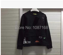 Miss Chen RAF SIMONS patch pullover sweatshirts fake two GD sun(China (Mainland))
