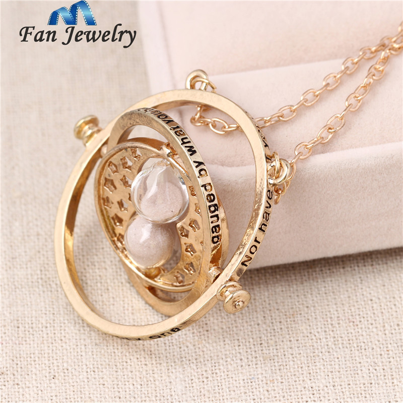 Hermione Time Turner Pendant Spin Hourglass Pendant Necklace Fan Gift Movies Jewelry XL012