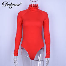 Dulce algodón 2018 Otoño Invierno mujer sexy bodysuit manga larga cuello alto rojo negro gris sólido mujer estiramiento cuerpo delgado(China)