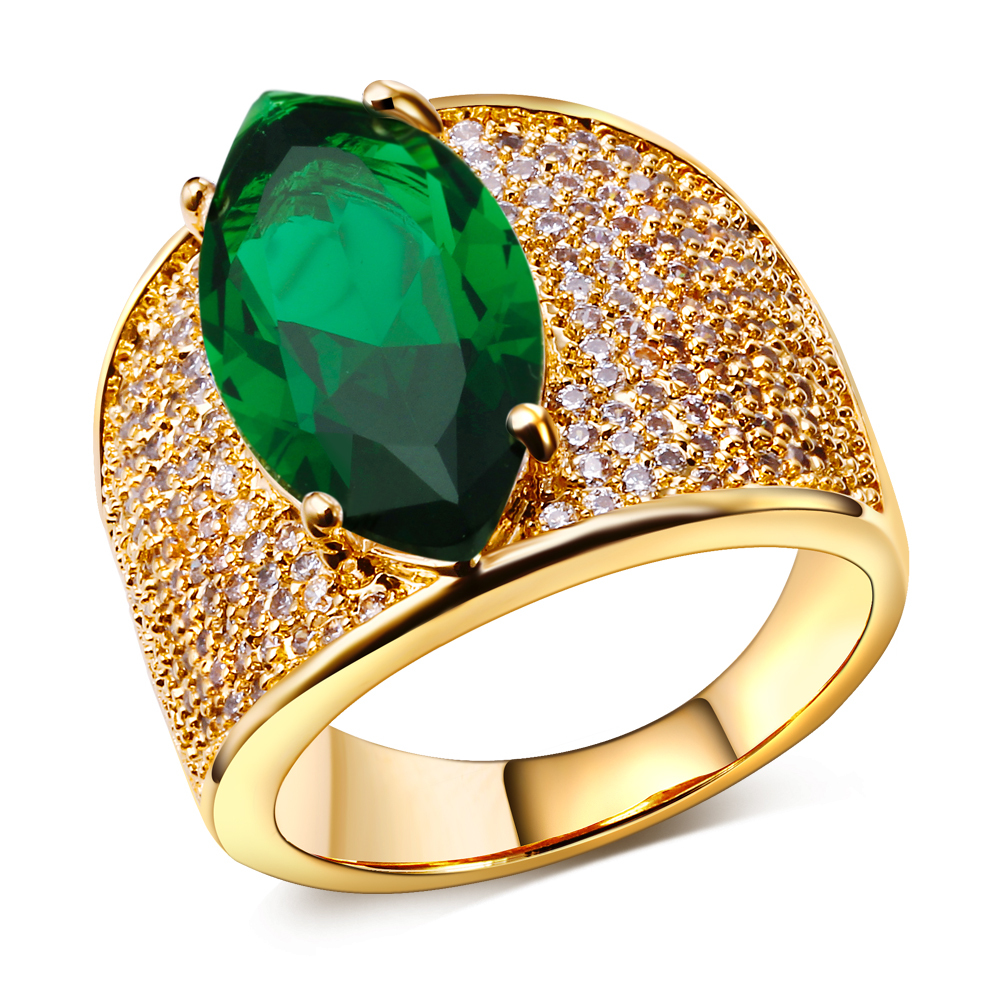 High fashion jewelry big stone Rings gold plated w/ cubic zircon rings for women free shipment full ring size(China (Mainland))