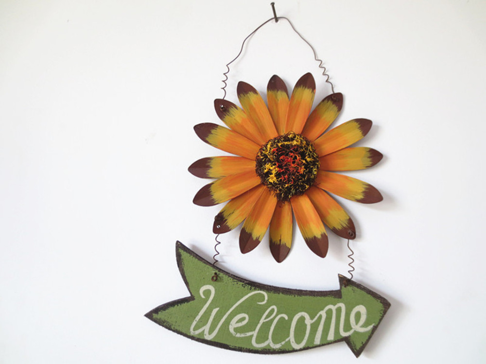 Garden Sunflower Wall Decor : American country hand painted garden style iron sun flower
