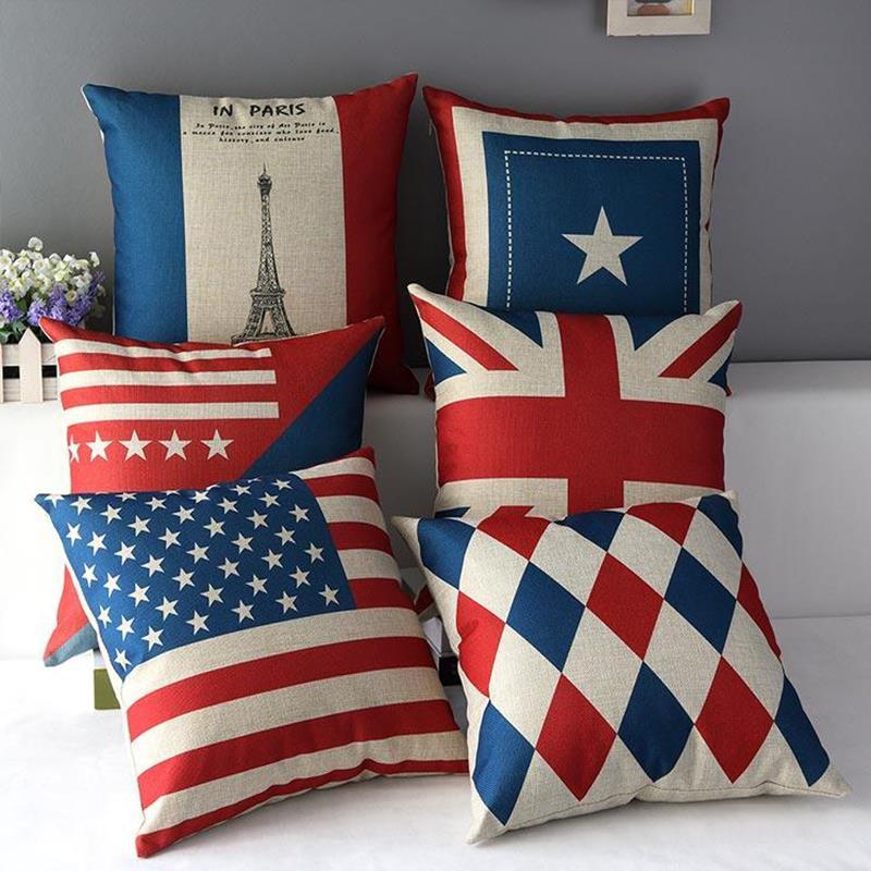 2015 hot National Flag Decorative throw Pillows case Linen Cotton Cushion Cover Creative decoration for Sofa Car covers 45X45cm(China (Mainland))