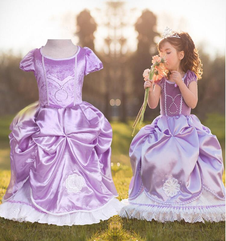Big Size 100-150,Girls Sofia Princess Dress 2015 New Children Baby Girl Winter Dress Kids Wedding Or party Dresses Purple(China (Mainland))