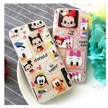 For IPhone 6s Plus Hot Popular Kitty& Mickey Soft TPU Case Back Cartoon Protective Mobile Phone Cover Skin for IPhone 6/6S