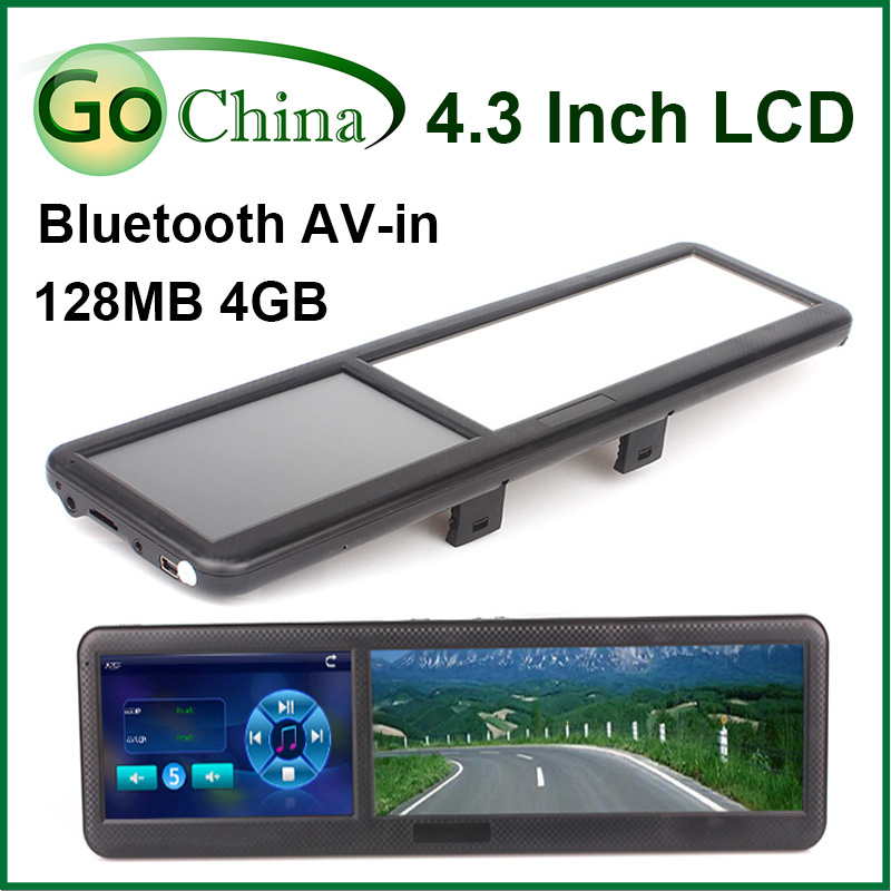 Rear View Mirror car GPS, 4.3 inch MTK navigator, wince 6.0 , bluetooth, AV-in , FM,4G, free maps and free shipping(China (Mainland))