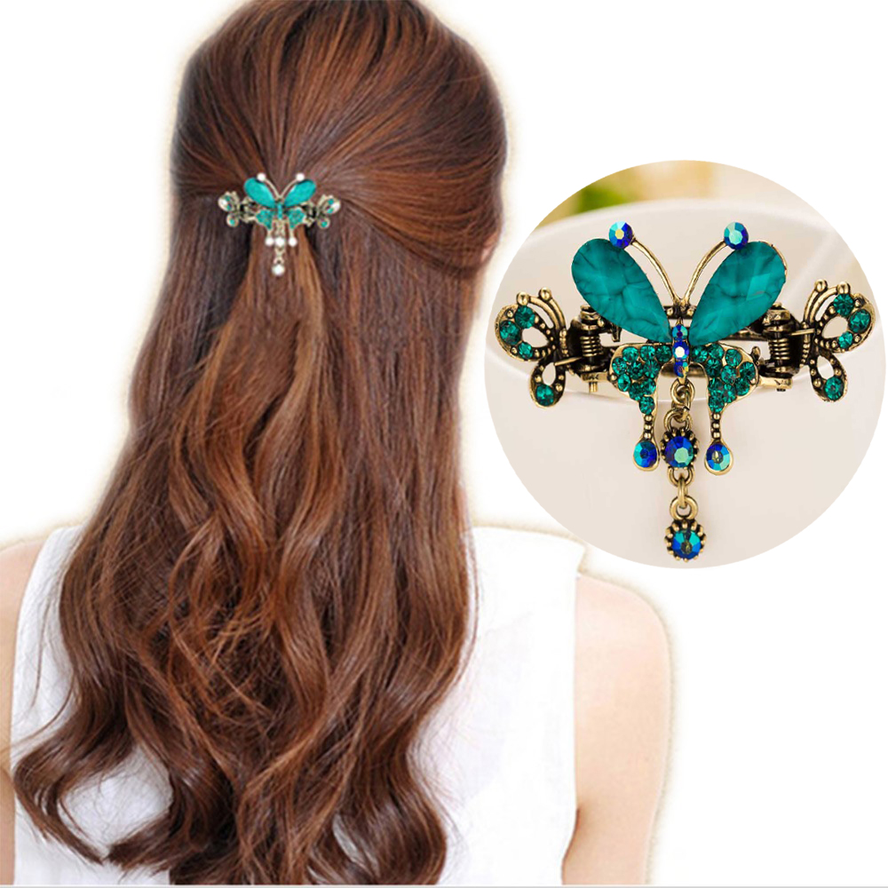 Vintage Women Elegant Turquoise Butterfly Flower Hairpins Hair Barrette Clip Crystal Butterfly Bow Hair Clip Hair Accessories(China (Mainland))