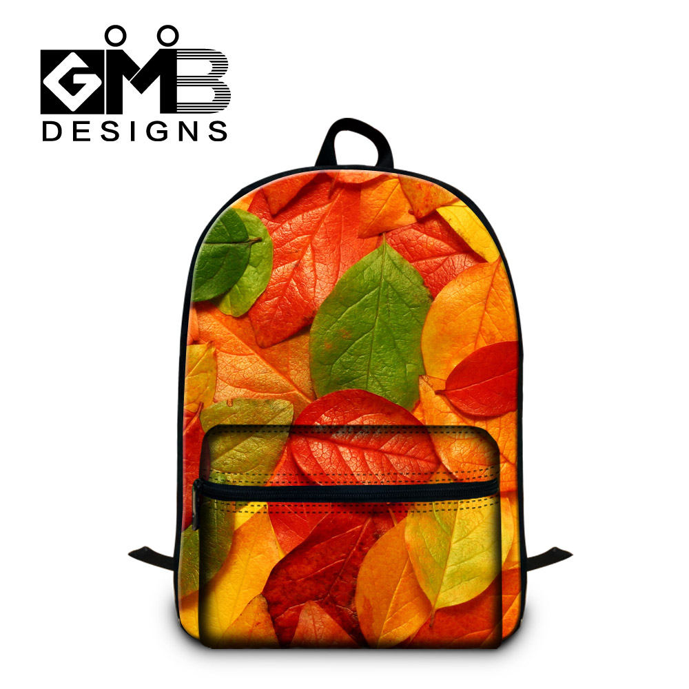Fashion Colorful Toronto Maple Leaf Print Backpack College Grils Fallen Leaves School Bags Children Leisure Outdoor Travel Bag(China (Mainland))