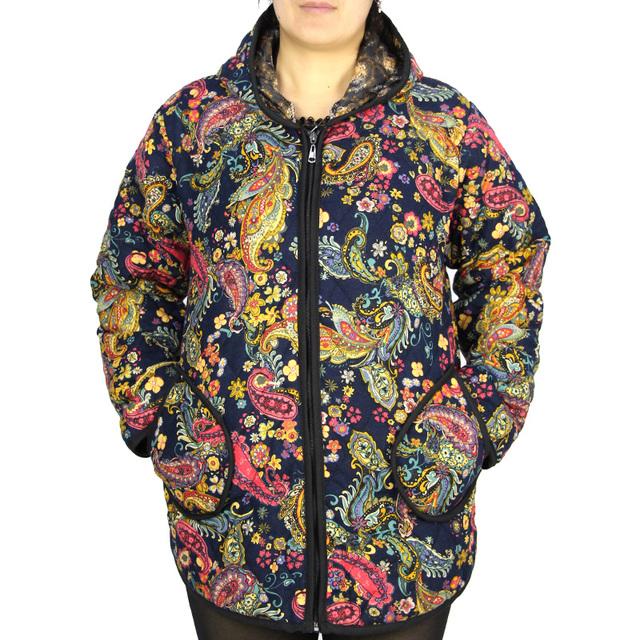 Мода хлопок + полиэстер женщины пальто свободного покроя печать цветочные куртки ...