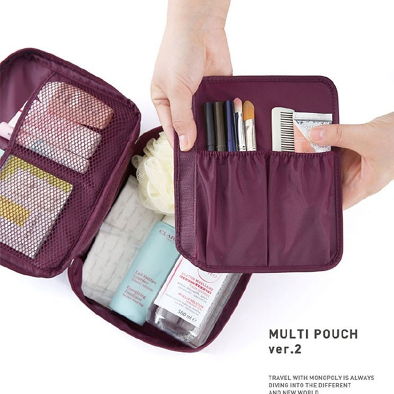 2014 New Arrival Ver.2 Travel Necessity Toiletry kits Makeup Organizer Women's Cosmetic Bag Storage Pouch For UnderwearTowel(China (Mainland))