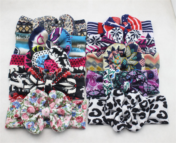 The new women headband fashion wild Ms. wide bow hair bands headdress turban elastic knot headbands hair accessories 10 colors(China (Mainland))