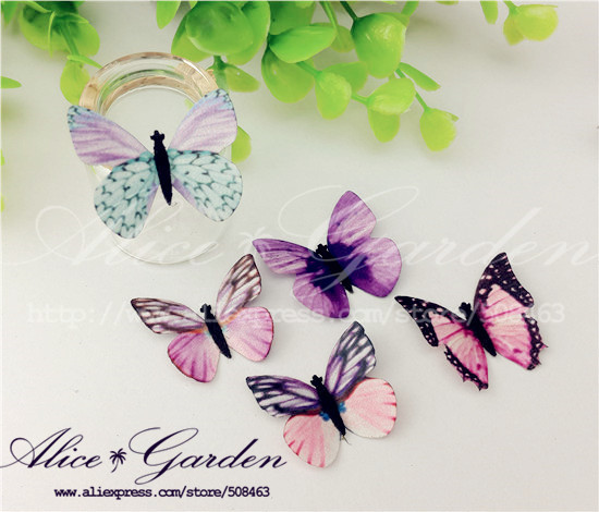 10 3-4cm mixed color cloth Butterfly glass globe filler (the price butterfly) Jewelry accessories - Alice Garden DIY 508463 store