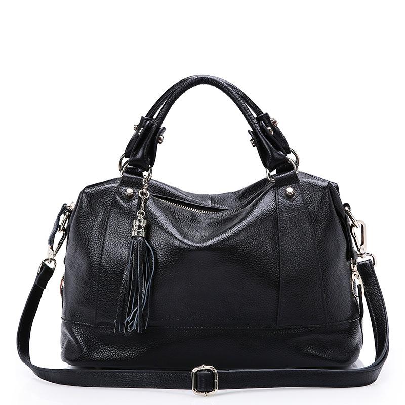 Fashion Women Genuine Leather Handbag Ladies Head Layer Cowhide Tassel Tote Crossbody Shoulder Bags Female Bolsas QZ5541