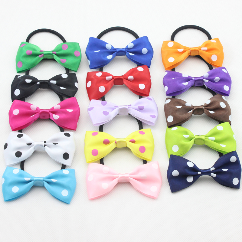 Trial Order Satin Hair Bow with Band for Girl and Woman Hair Accessories Elastic Bow Hair Tie fashion Bow Hair Band 15 pcs/lot(China (Mainland))