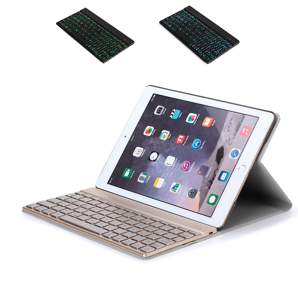 "Fashion Backlit Keyboard For new Apple iPad Pro 9.7"" &Air2, Wireless Bluetooth Keyboard Slim Aluminium +Premium leather case(China (Mainland))"