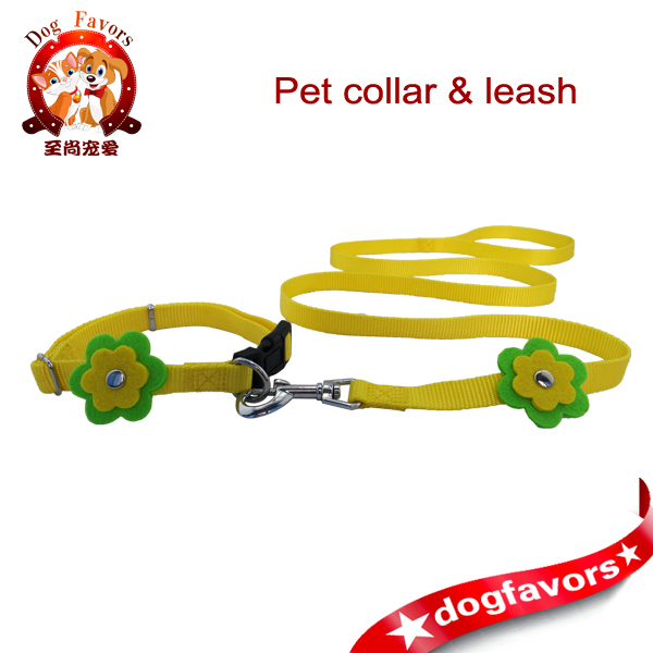 Flower Small Dog Pet Puppy Cat Adjustable Nylon Collar with Lead, Free international shipping(China (Mainland))