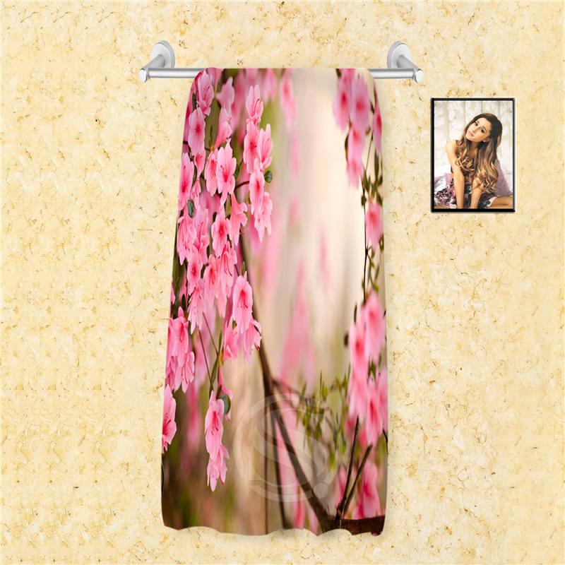 F4 Fashion Custom colorful orchid flowers rose Towel Microfiber Fabric Reactive PrintingWomen men Bath Towel 66X135cm 7.4=4(China (Mainland))