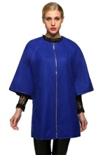 Women Fashion Loose Wool Blend Round Neck 3/4 Batwing Sleeve Solid Zip Up Long Coat Blends(China (Mainland))