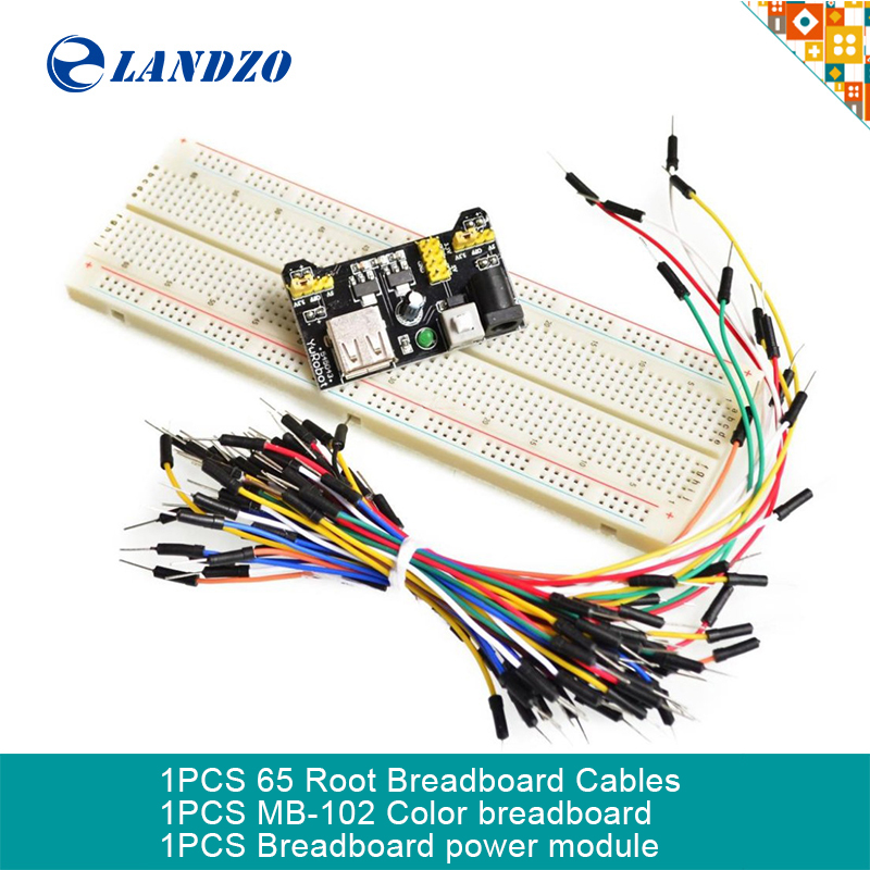 MB102 Breadboard power module+MB-102 830 points Solderless Prototype Bread board kit +65 Flexible jumper wires(China (Mainland))