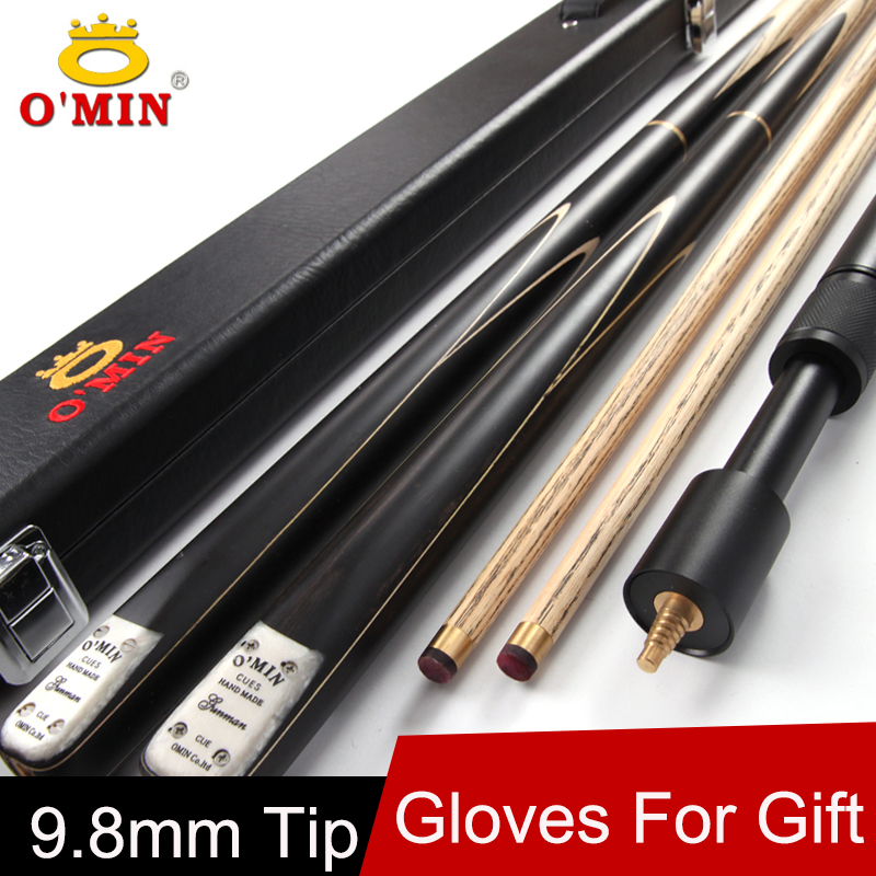 O'MIN Brand 3/4 Snooker Cue Stick 9.8mm Tip 3 4 Snooker Cues Case Set China Fast Shipment(China (Mainland))