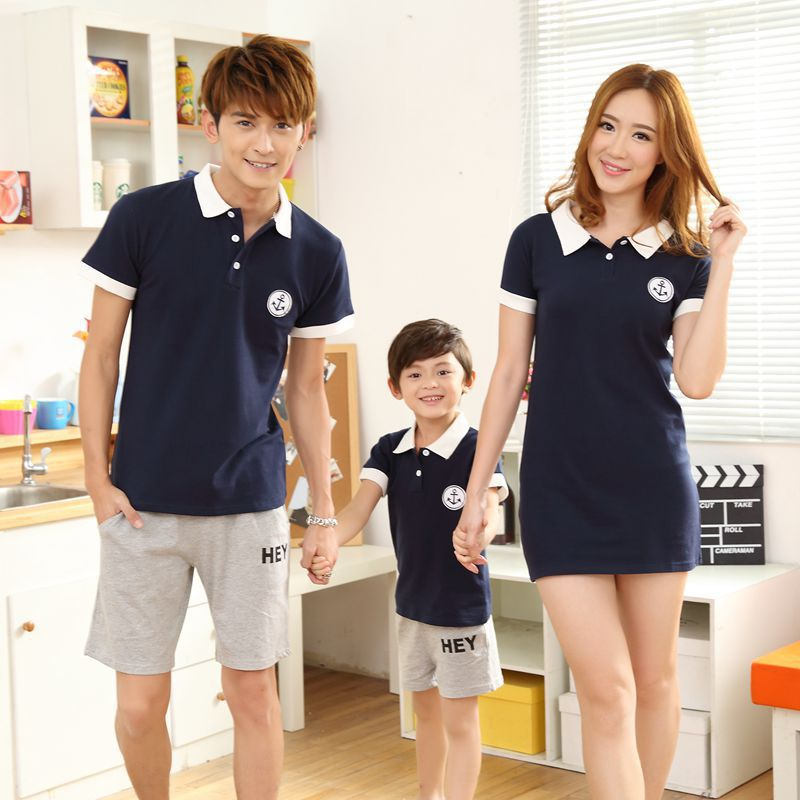2015 New Simple Classic Dark Blue Polo Shirt And Shorts