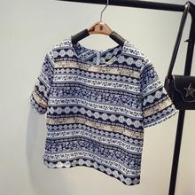 2016 summer new short-sleeved chiffon t shirt female zipper crop top shirt thin short-sleeve T-shirt national ladies fashion(China (Mainland))