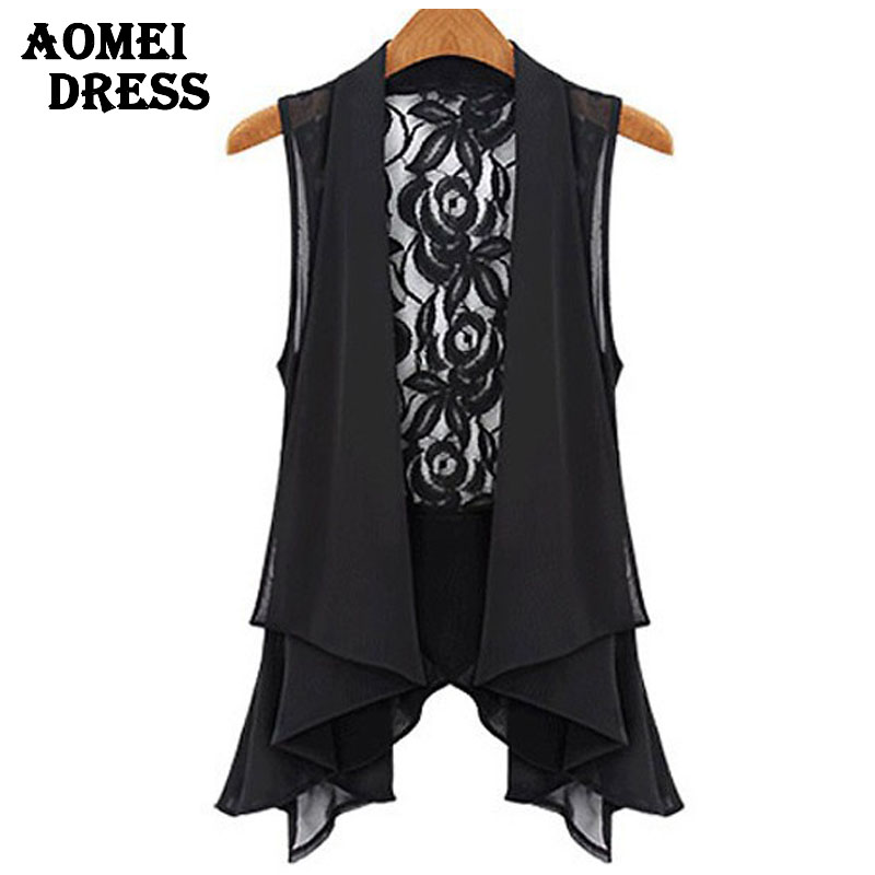 Plus size 5XL XXXXXL Black Lace Kimono Sleeveless blouse chiffon Patchwork open back sashes belt ruffles women's top cardigan - AOMEI DRESS store
