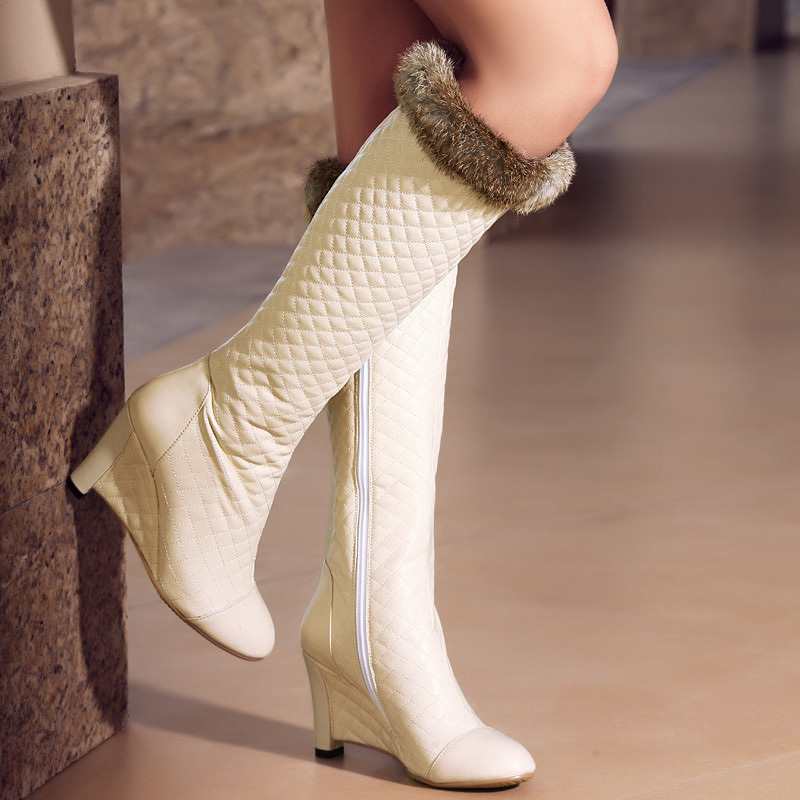 Leather snow Boots Newest wedges High Heels Shoes for Women Platform Shoes Winter Warm Boot Round Toe Knee-High boots<br>