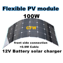 Free shipping 100W flexible solar panel,Front side Connection Box and 0.9M cable,suitable for 12V battery .