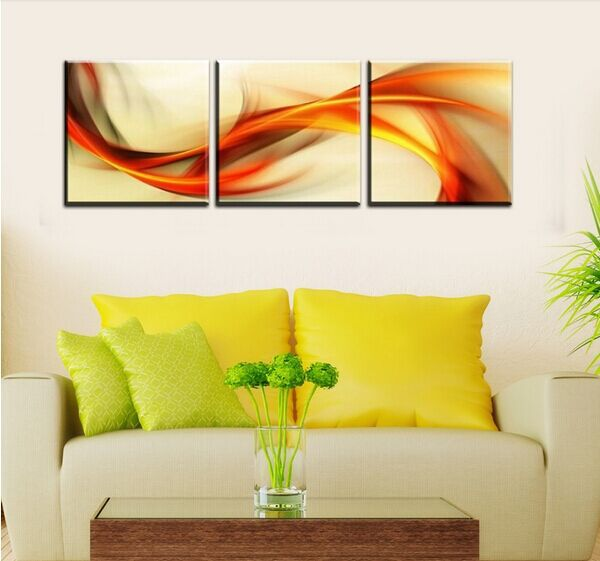 HOME DECOR High Precision wall printing Set of 3 Flying rainbow Stretched canvas oil painting printer Ready to Hang(China (Mainland))
