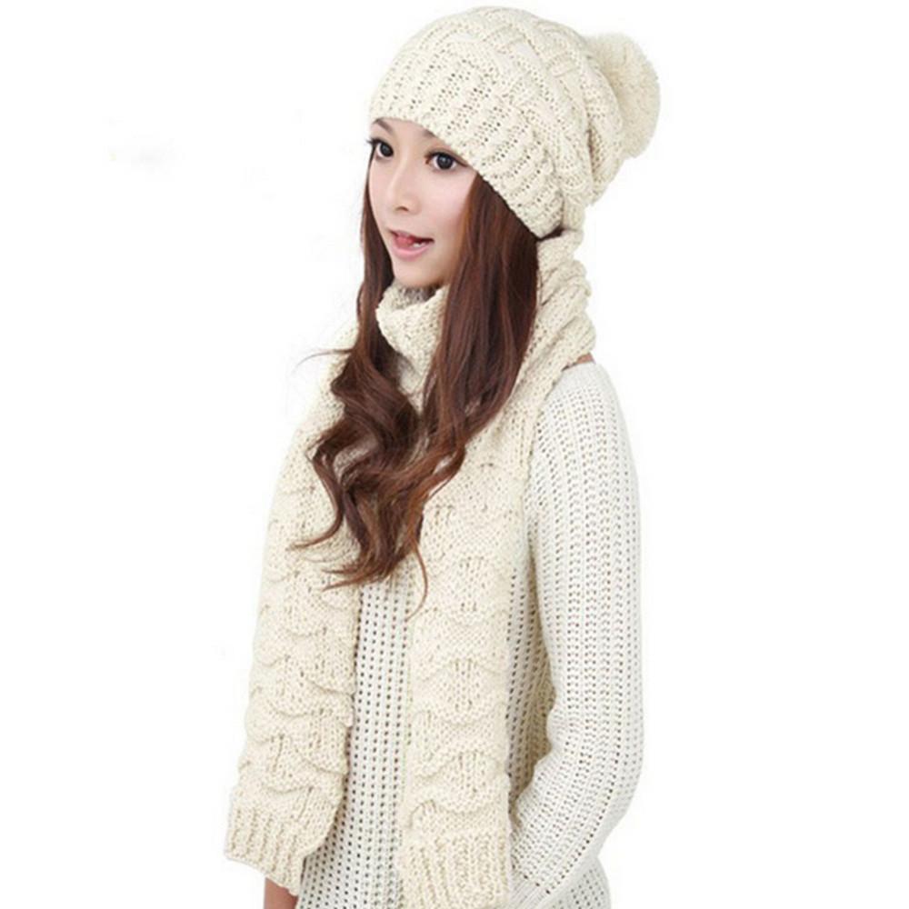 2Pcs Women's Winter Hat Scarf Cotton Knitted Crochet Beanies Cap Women Warm Scarves Skullies Hat Twist Knit Pompom Hat
