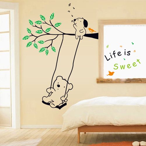 1 set 43*59 Inch Removable PVC Decals Lovely Bear Play On The Swings Wall Stickers For Kids Rooms Decoration AY9036(China (Mainland))