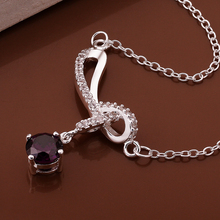 Free shipping crystal jewlery free shipping 925 silver necklace inlaid stones fashion necklace high quality wholesale
