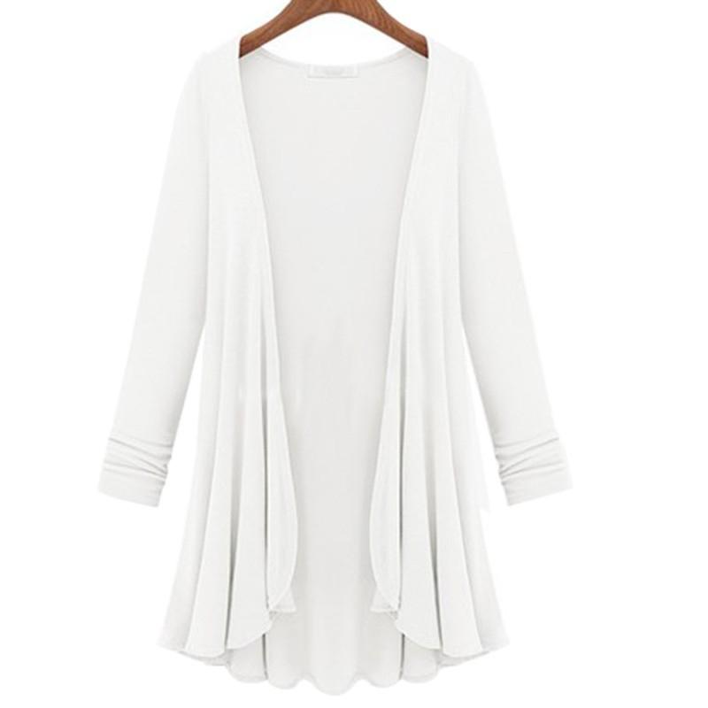 2016 Autumn Winter New Casual Loose Long Flounce Hem Women Coat Poncho Cardigan Feminina Blouse Shirt Thin Jacket Plus Size