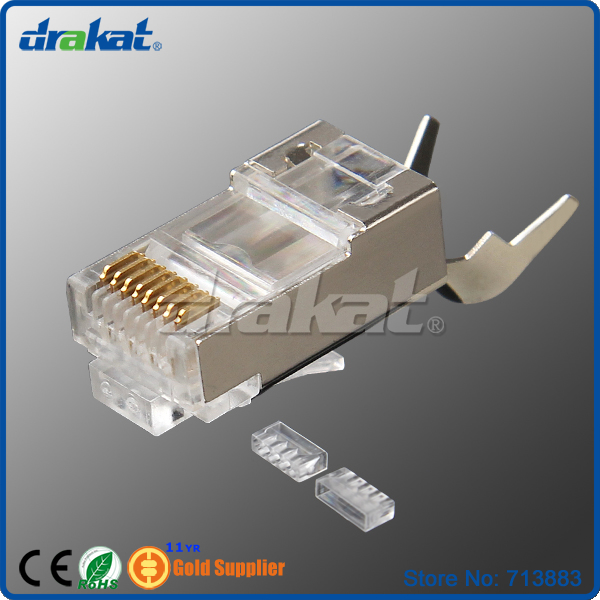 FTP Shielded RJ45 Cat6 Modular Plug Network Connector with aligner and load bar<br><br>Aliexpress