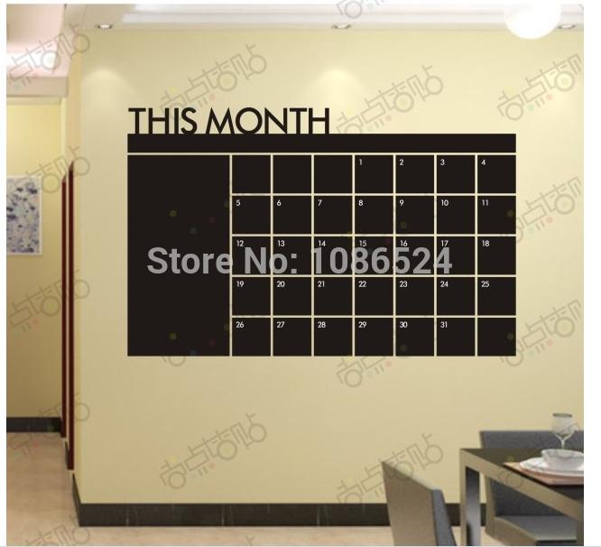Chalkboard Calendar Wall Decal : Pcs lot diy monthly chalkboard calendar vinyl wall