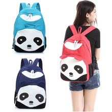 Hot Sale Lovely Panda Backpack Women Girls Character Softback Zipper Bag Denim Canvas Backpack Casual For Teenage Girls(China (Mainland))