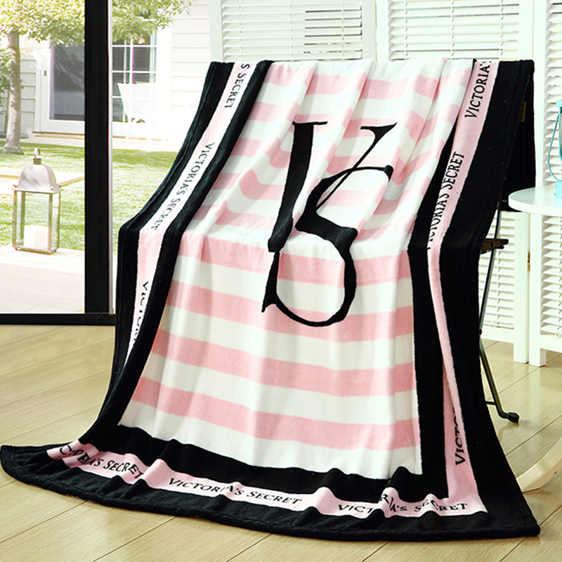 Pink VS Secret Blanket Manta Fleece Blanket Throws on Sofa Bed Plane Travel font b Plaids