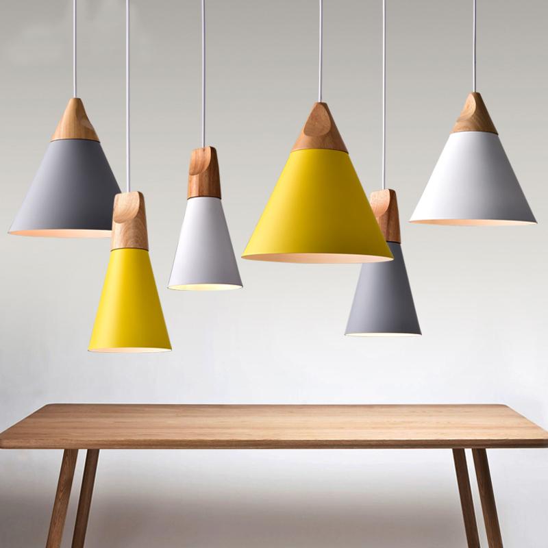 Nordic Pendant Lights Wood Aluminum Lampshade Industrial Lighting Loft Lamparas Colorful Pendant Lamp E27 Base Light Fixtures(China (Mainland))
