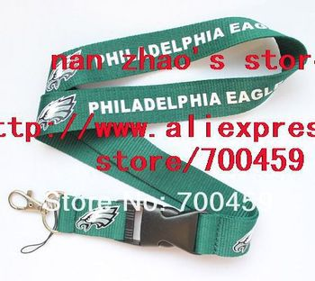 New Lot 120pcs Philadelphia Eagles FOOTBALL sport Lanyard/ MP3/4 cell phone/ keychains /Neck Strap Lanyard WHOLESALE