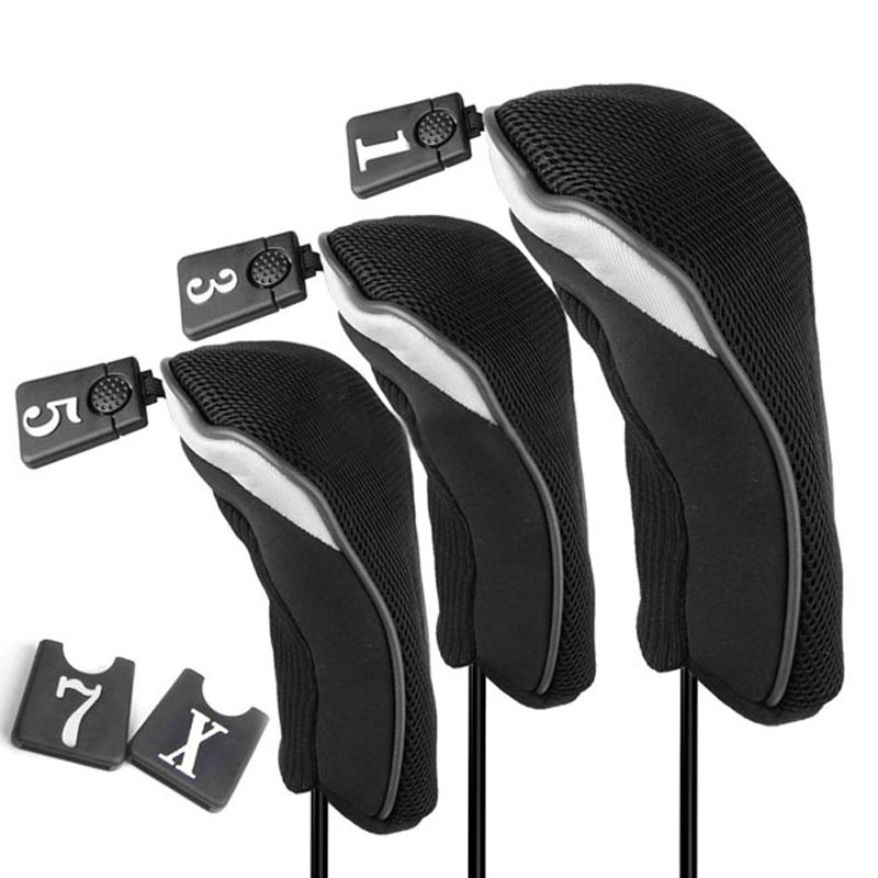 Black Soft No. 1 3 5 Wood Golf Club Driver Headcovers Head Covers Set - Michael & Dolphin's Store store