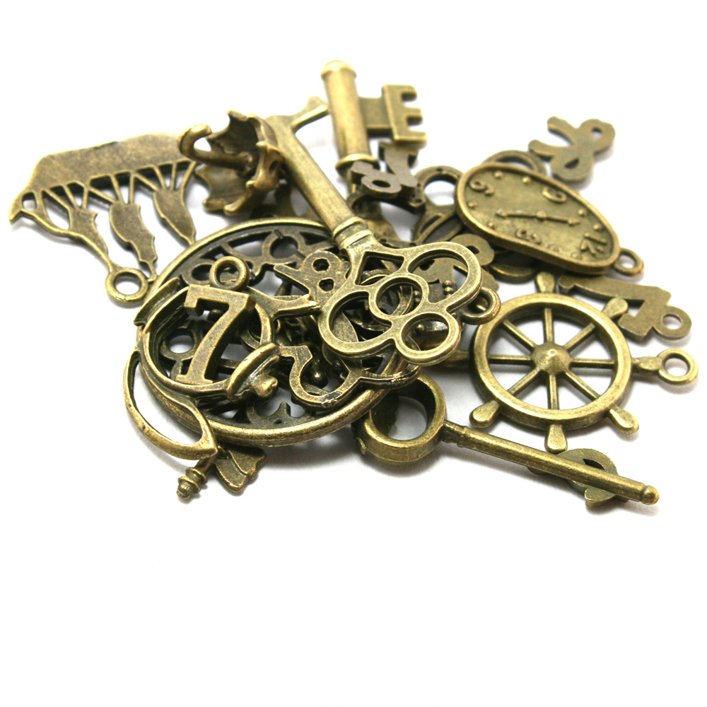 Free shipping!Hot Mixed type Antique Bronze Charms 20pcs Alloy Pendant DIY for bracelet necklace jewelry making BJI000-77(China (Mainland))