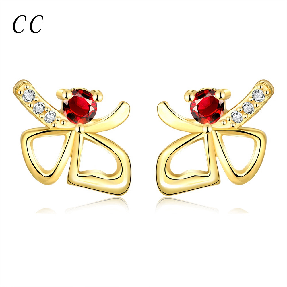 Hot fashion jewelry red ear studs zirconia diamond gold plated beautiful butterfly earrings for women lovely wholesale CCNE0049(China (Mainland))