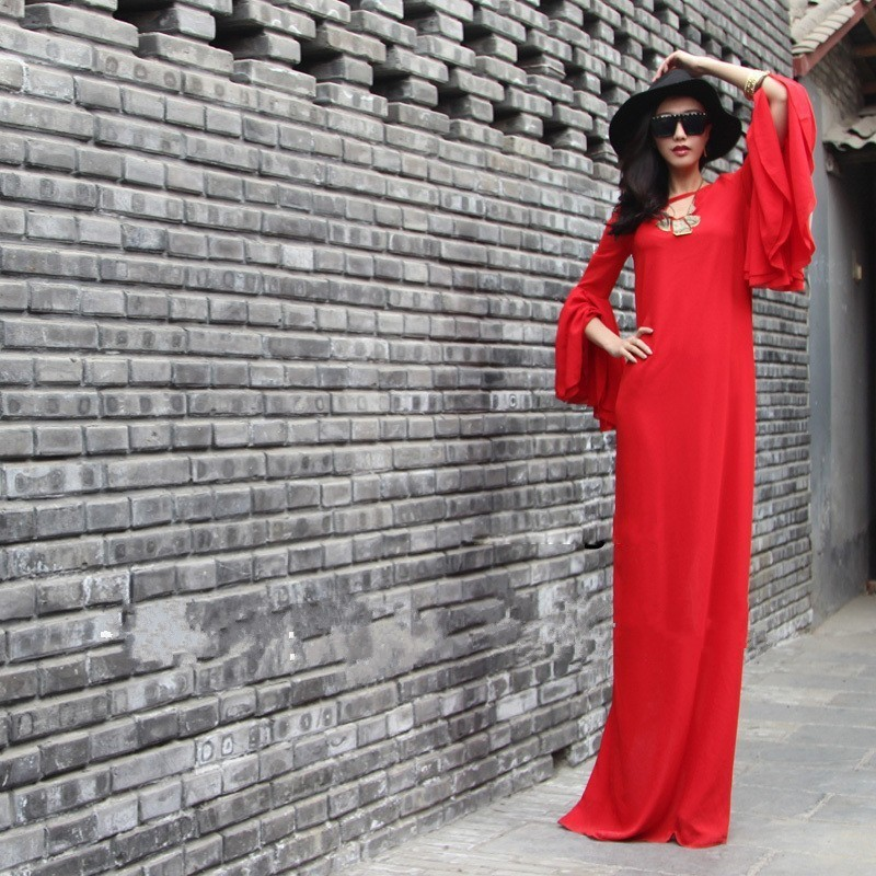 New Arrivals Chiffon V-Neck Summer Red Maxi Long Bodycon Vintage Office Dress Vestidos Butterfly Sleeve Plus Size Women ClothingОдежда и ак�е��уары<br><br><br>Aliexpress