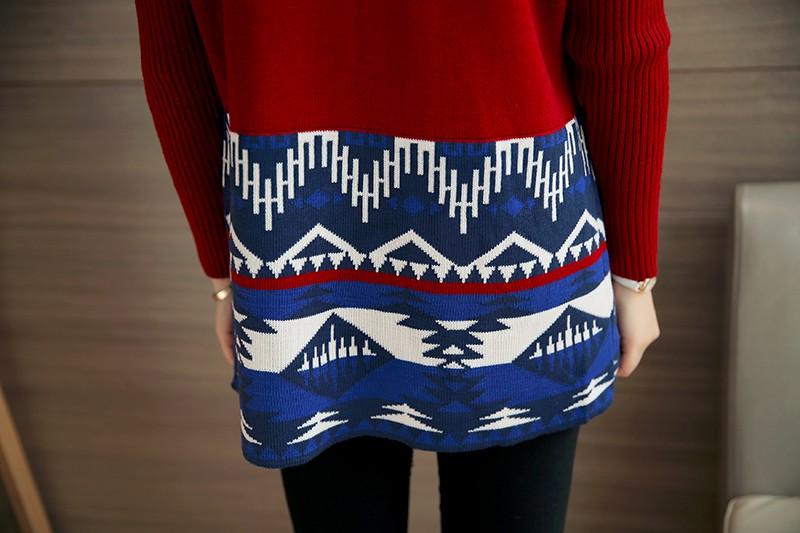 2016 Winter Female Cardigan Korean Jumpers Print Blue/ Wine Colors Cotton Scraf Collar Full Cardigans Women Long Sleeve Sweater