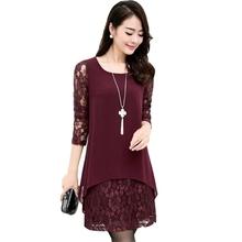 XXXXXL Lace Blouse Shirt 2016 Spring Long Sleeve Elegant Party shirts for women plus size female costume blusa de renda feminina(China (Mainland))