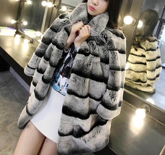 Best Real Chinchilla Fur Coat For Women Genuine Rex Rabbit Fur Coats Woman Natural Fur Plus Size Thick Warm Fur Overcoat(China (Mainland))