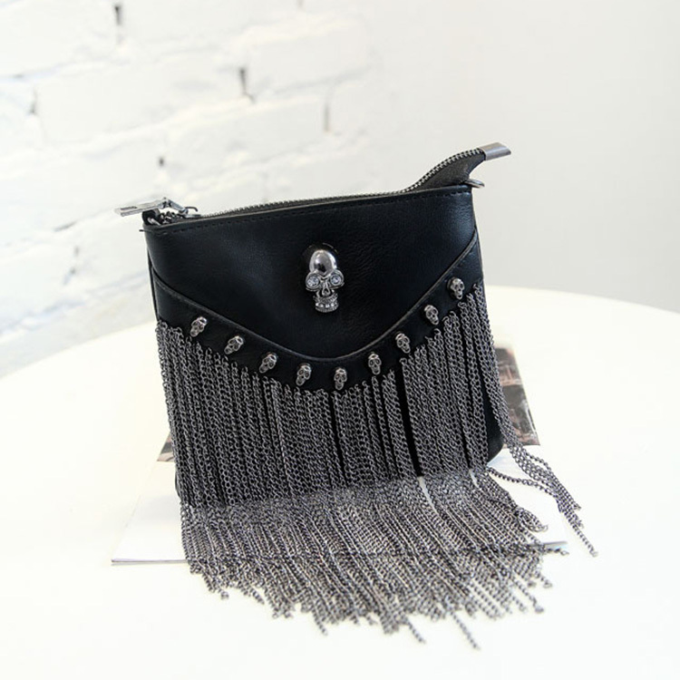 Rock Stud Bags for Women Punk Style Fringe Handbags Black Leather Vintage Crossbody on Chain Fashion Skull Rivet Messenger Bag(China (Mainland))